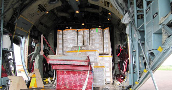 UN plane unloads election materials at the Mbandaka airport