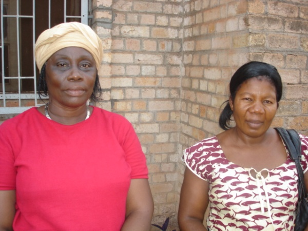Mama Lombe on right with Mama Bonanga, the leaders of pastors' wives' Microcrdit Union