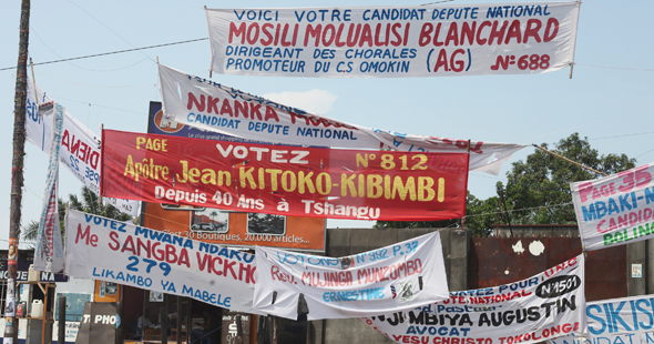 Election Banners on a Kinshasa Street 2011