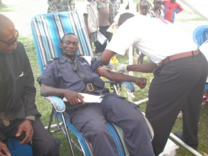 A Mbandaka Policeman Undergoes AIDS Testing at the Fair