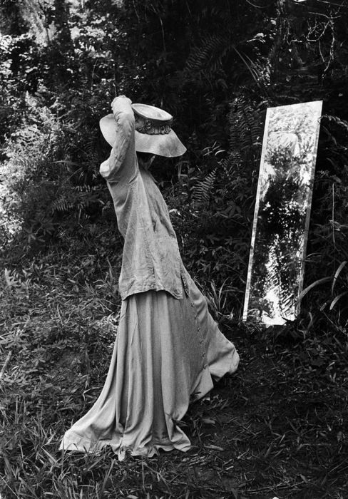 Ms. Hepburn in her Congo rainforest dressing room, one of the Eliot Elisofon photos from her book on the making of The African Queen