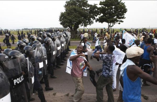 Riot police disrupt Tshisekedi rally in Kinshasa