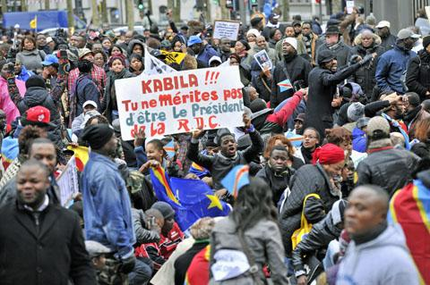 Worldwide protests against the Kabila Administration's rule have recently been organized.  Antwerp's demonstration is pictured here