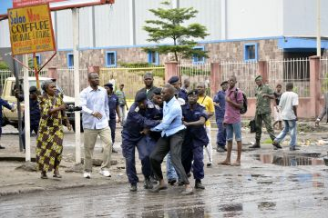 Civil Society is Weakened and Repressed in Congo; here a priest is arrested last week in Kinshasa