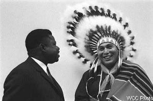 Rev. Jean Bokeleale with Rev. Thomas Roughface of the Cherokee Nation at a World Council of Churches gathering in the early 1970's