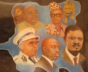 In a recent painting by a Congolese artist, the figures of Lumumba and his primary rival Kasavubu loom large