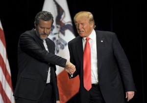 Head of the largest Christian university in the U.S. Jerry Falwell Jr. joined Donald Trump at a January campaign event in Iowa