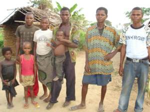 In the village of Ikengo, the Disciples' agricultural project did employ a Pygmy staff, including 3 men on the right, and provide Pygmy children with scholarships.