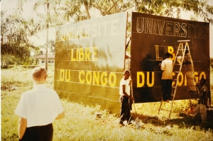 Disciples missionary and first President  Dr. Ben Hobgood at UPC's  first sign in 1959